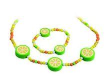 Dřevěné hračky - dřevěné korálky - Bižuterní sada citrónky