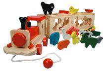 Bino Dřevěný vlak se zvířátky zoo trenino