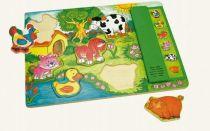 Dřevěné hračky - Hrací puzzle na desce s hlasy zvířátek