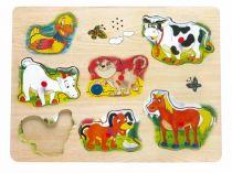 Dřevěné hračky - Hrací puzzle na desce - zvířecí hlasy