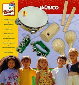 Dřevěné hračky Bino Hudební nástroje mini orchestr 8 dílu