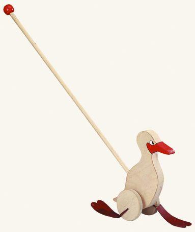 Dřevěné hračky Dřevěné hračky - Kachna na tyči - natur / červená Bino
