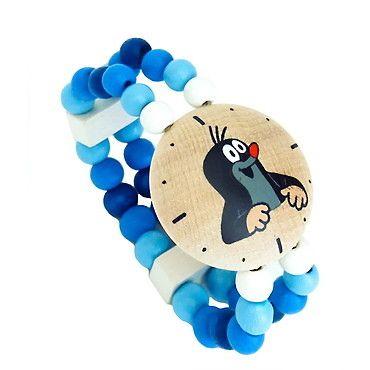 Dřevěné hračky Detoa Hodinky s Krtkem modré
