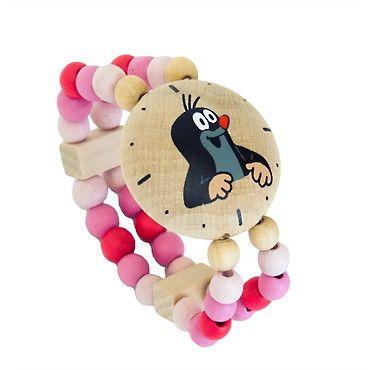 Dřevěné hračky Detoa Hodinky s Krtkem růžové