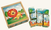 Bino Dřevěné obrázkové  kostky divoká zvířata 9 ks