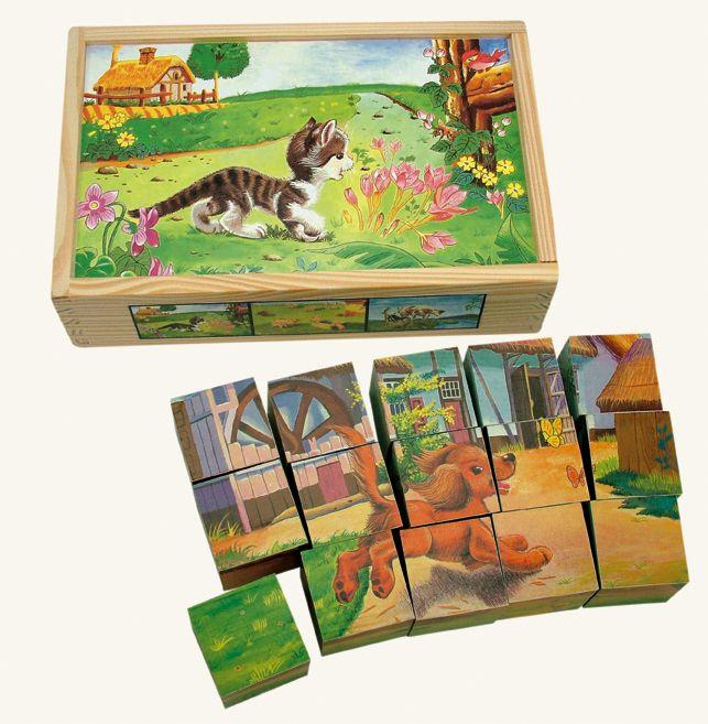 Dřevěné hračky Bino Dřevěné obrázkové kostky domácí zvířátka 15 ks