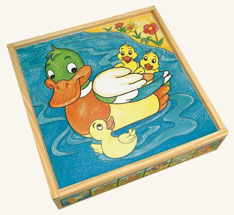 Dřevěné hračky Bino Dřevevěné obrázkové kostky zvířátka 25 ks