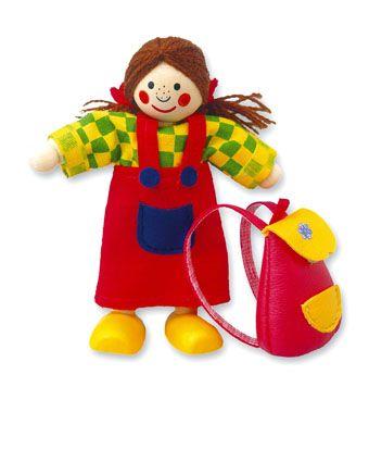 Dřevěné hračky Dřevěné hračky - Panenka do domečku holčička Mertens