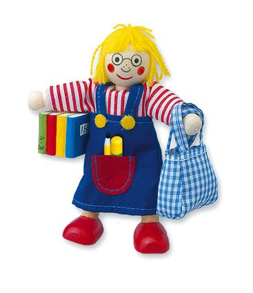 Dřevěné hračky Mertens Panenka do domečku školačka