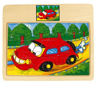 Dřevěné hračky Bino Dřevěné puzzle na desce auto Tori