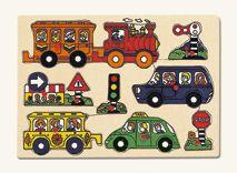 Dřevěné hračky Bino Dřevěné vkládací puzzle doprava