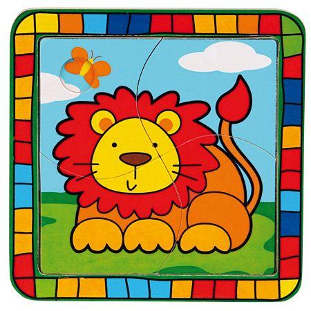 Dřevěné hračky Dřevěné hračky - Vkládací puzzle lev Bino