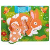 Bigjigs Baby Dřevěné vkládací puzzle králíci