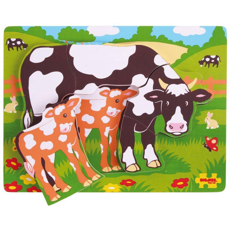 Dřevěné hračky Bigjigs Baby Dřevěné vkládací puzzle kravičky Bigjigs Toys