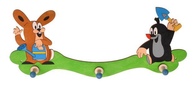 Dřevěné hračky DoDo Dřevěný 3 věšáček Krtek a zajíc na zahradě