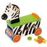 Bigjigs Baby Dřevěný motorický vozík zebra