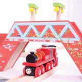 Dřevěné hračky Bigjigs Rail Červená lokomotiva s tendrem + 3 koleje