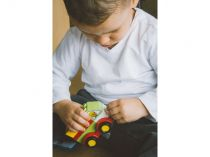 Dřevěné hračky L-W Toys Junior kostky Auta 62 ks