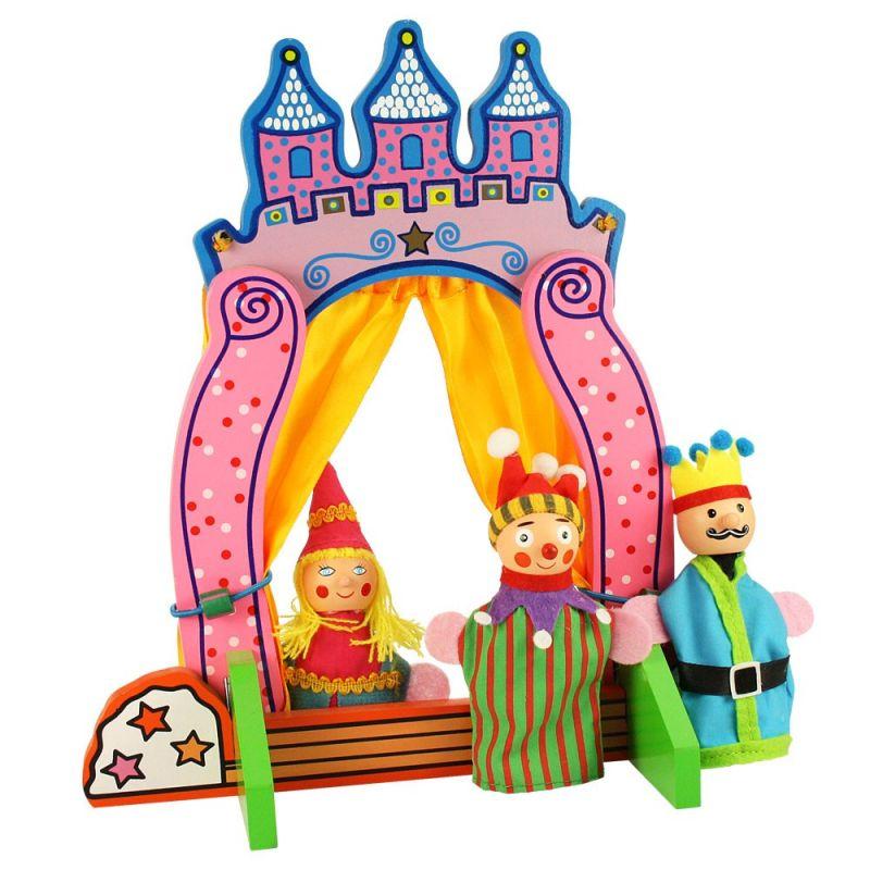 Dřevěné hračky Bigjigs Toys Dřevěné divadlo s prstovými maňásky