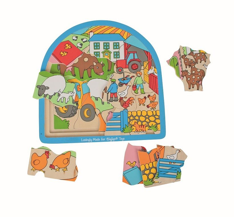 Dřevěné hračky Bigjigs Toys Dřevěné vícevrstvé puzzle Farma