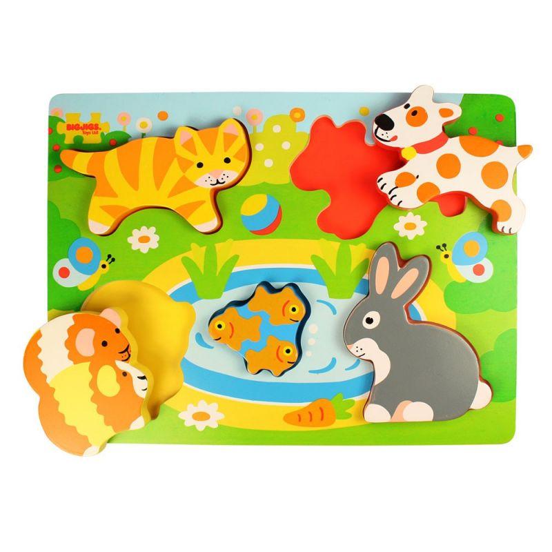 Dřevěné hračky Bigjigs Toys Vkládací puzzle zvířátka
