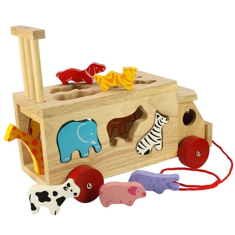 Dřevěné hračky Bigjigs Toys Dřevěné auto se zvířátky