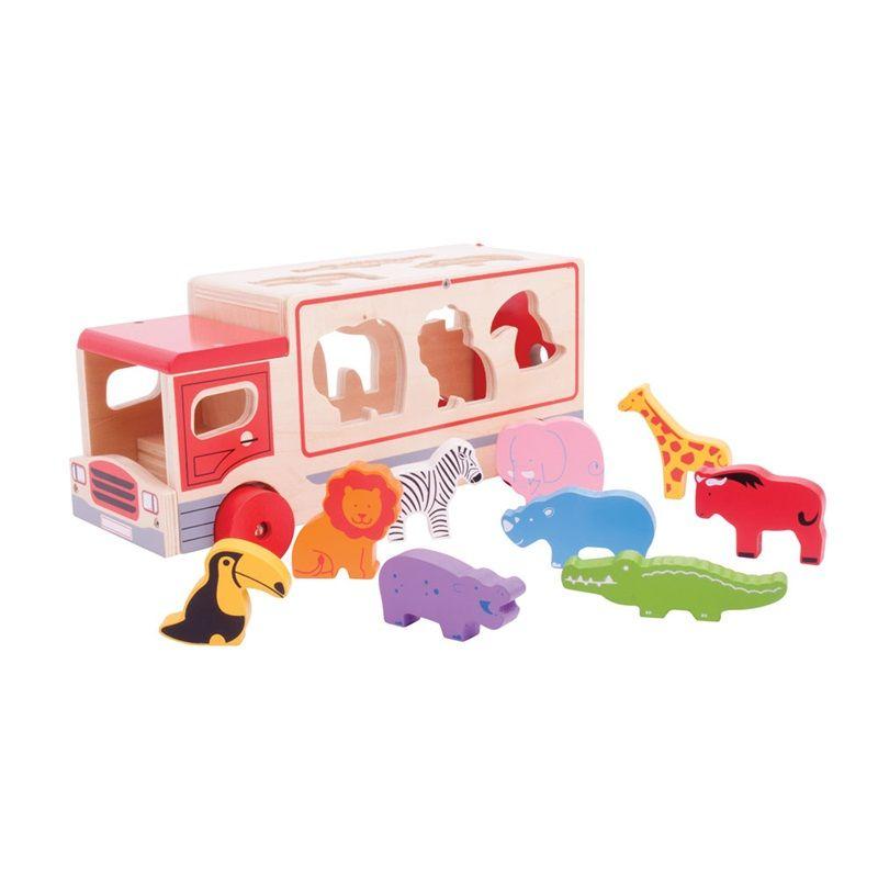 Dřevěné hračky Bigjigs Toys Dřevěné auto se zvířátky safari