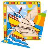Bigjigs Toys dřevěné hračky -  Vkládací puzzle loď