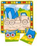 Bigjigs Toys dřevěné hračky -  Vkládací puzzle míchačka