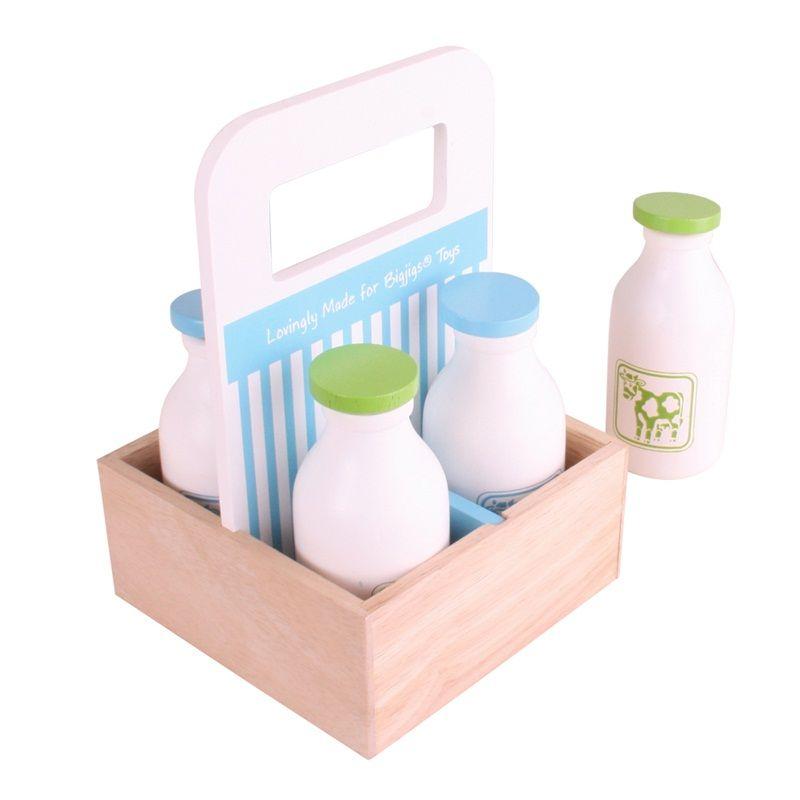 Dřevěné hračky Bigjigs Toys Dřevěné mléko v přenosné krabičce