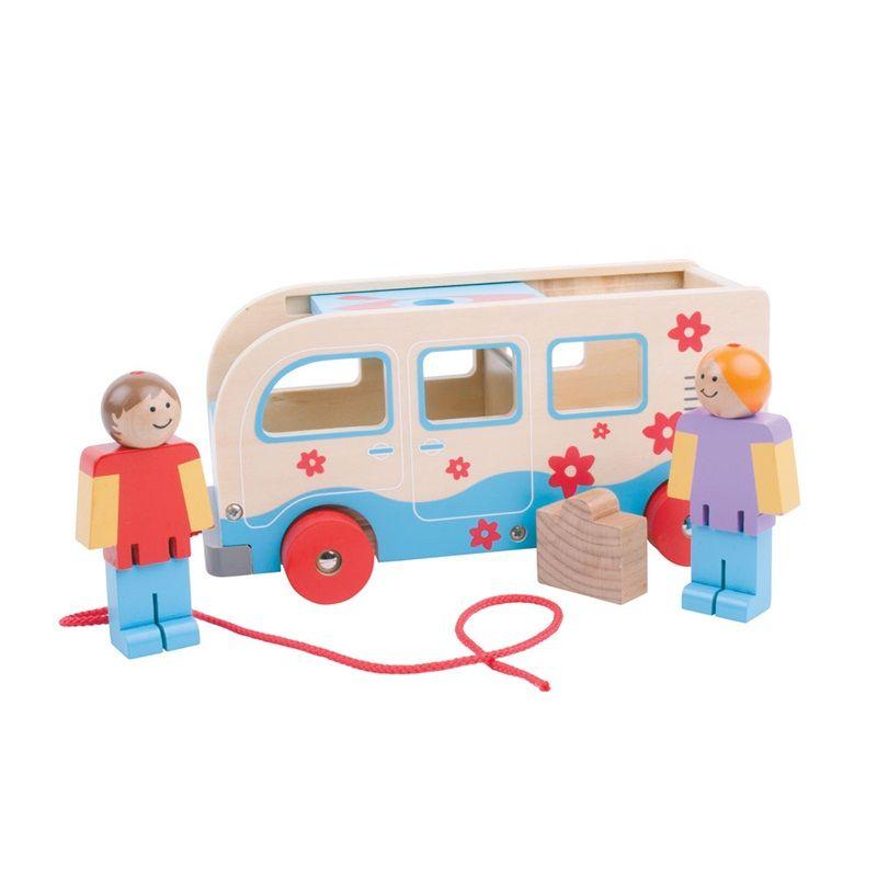 Dřevěné hračky Bigjigs Toys Dřevěné tahací obytné auto