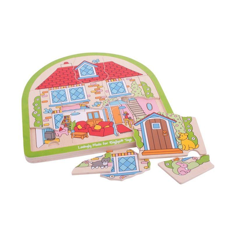 Dřevěné hračky Bigjigs Toys Dřevěné vícevrstvé puzzle Dům