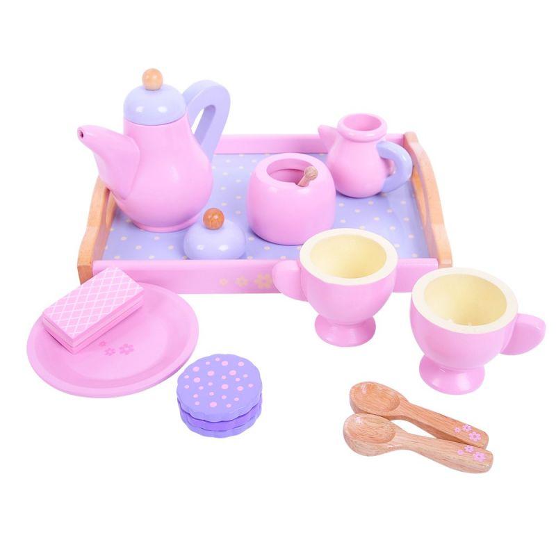 Dřevěné hračky Bigjigs Toys Dřevěný čajový set růžový