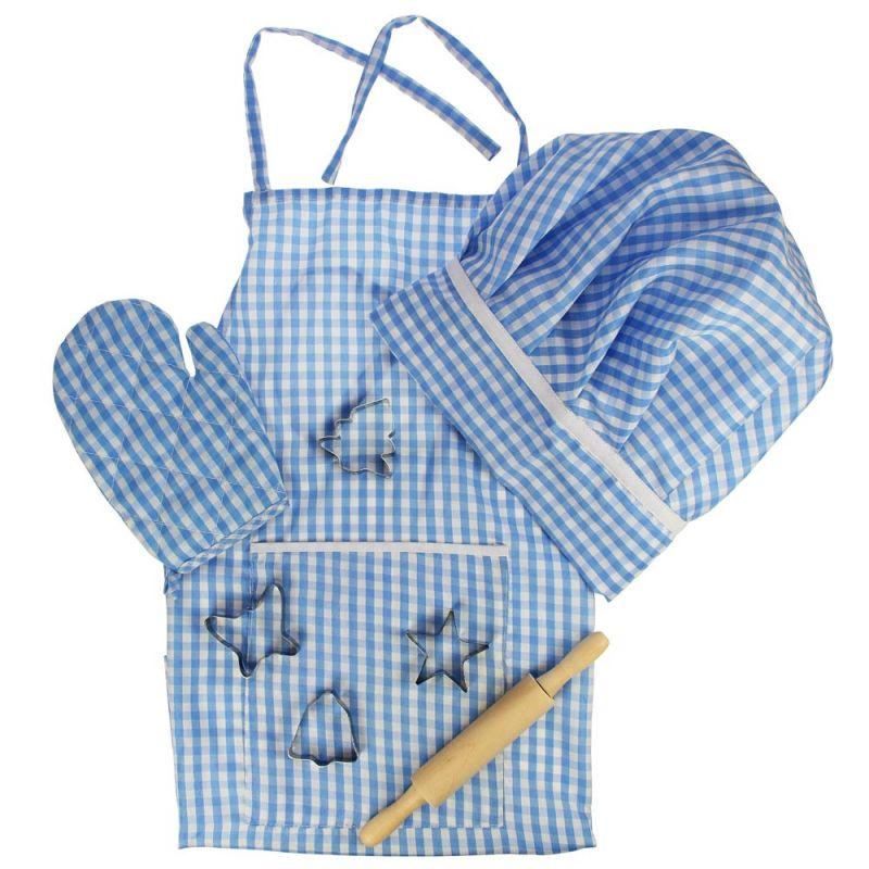 Dřevěné hračky Bigjigs Toys Modrý set šéfkuchaře