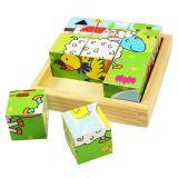 Dřevěné hračky Bigjigs Toys Obrázkové kostky kubusy Zvířátka 9 kostek