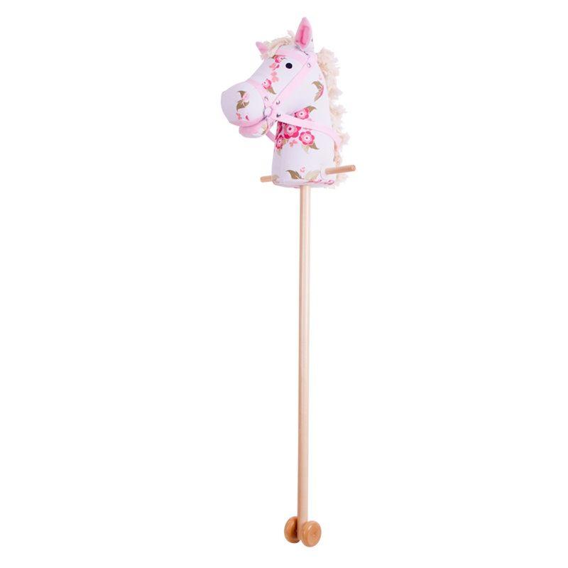 Dřevěné hračky Bigjigs Toys Růžový kůň na tyči