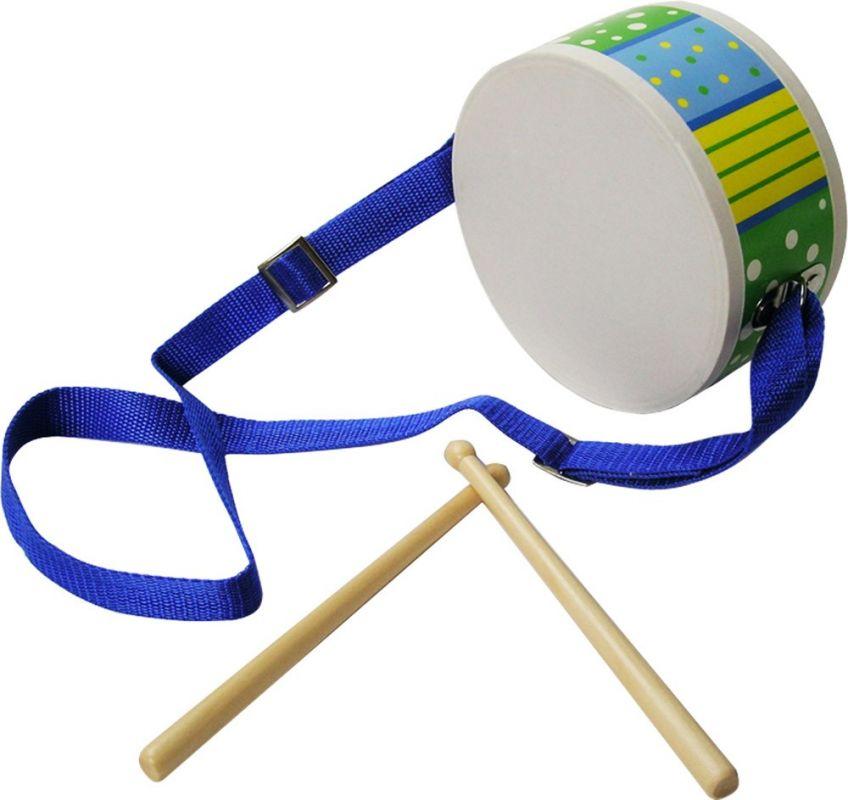 Dřevěné hračky Bigjigs Toys Bubínek modrý s paličkami