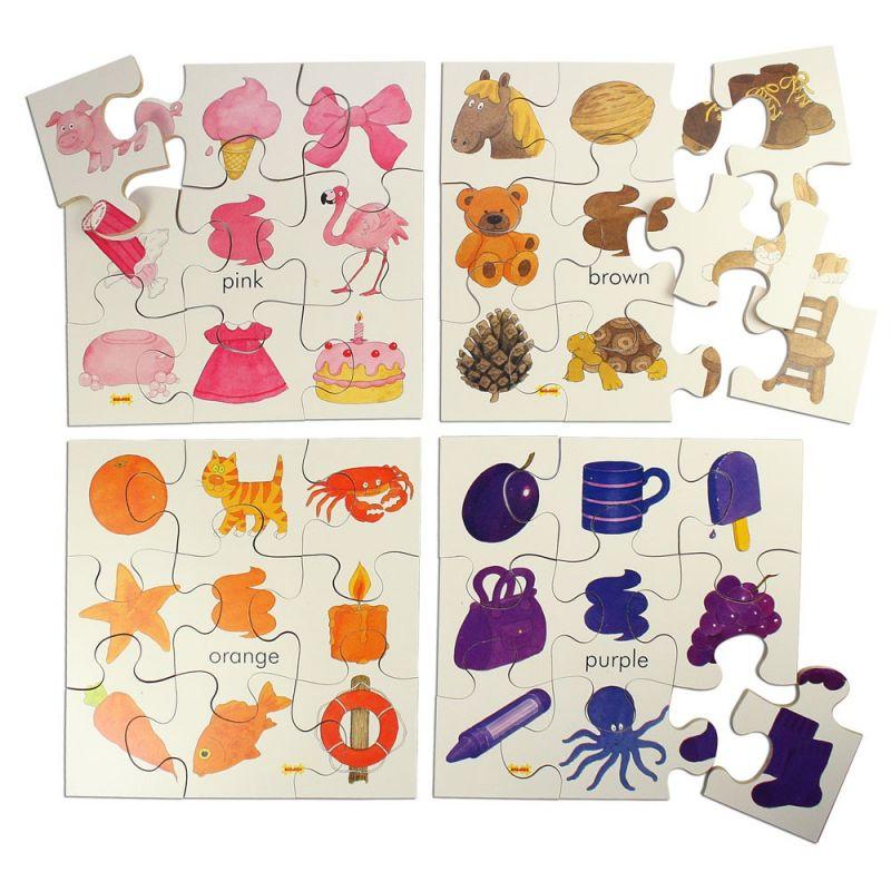 Dřevěné hračky Bigjigs Toys Dřevěné didaktické puzzle barvy 4v1