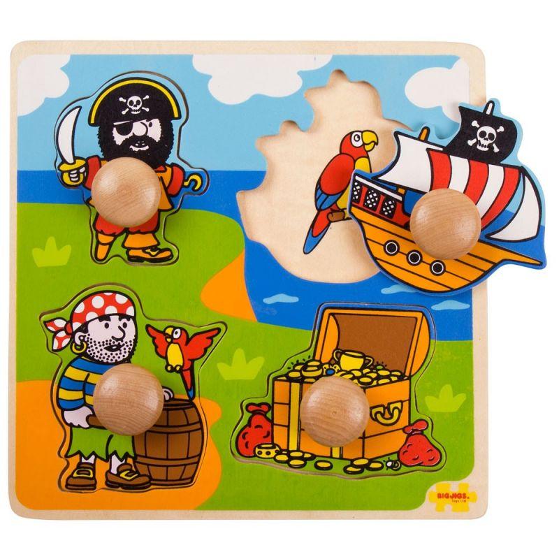 Dřevěné hračky Bigjigs Toys Vkládací puzzle piráti