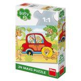 Dino Puzzle Červeným autem na safari 24 dílků