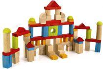 Dřevěné hračky Jeujura Dřevěné kostky barevné 82 ks