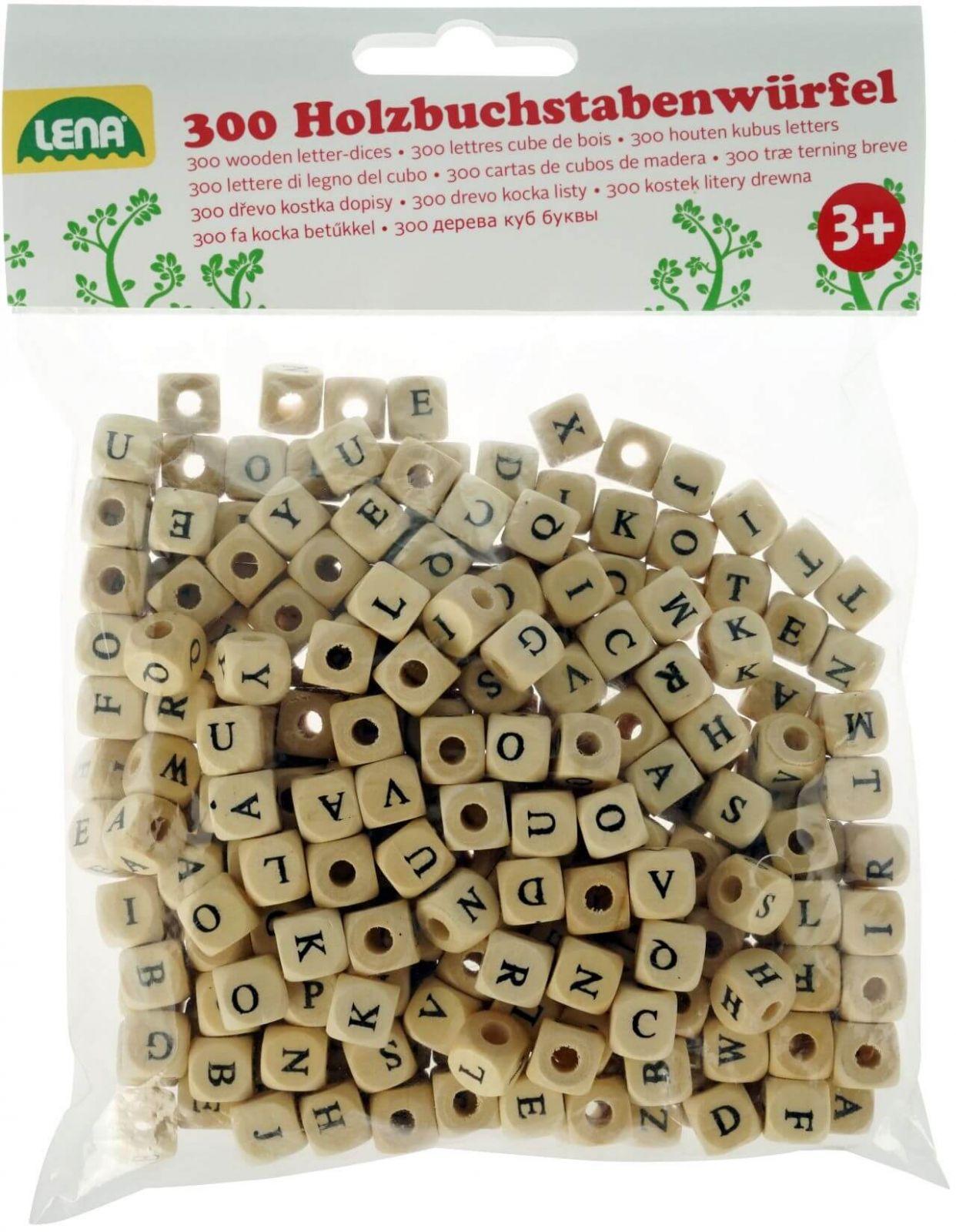 Dřevěné hračky Lena Dřevěné písmenka abeceda 300 ks