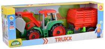 Dřevěné hračky Lena Truxx Traktor s vlekem na seno (v kartónu)