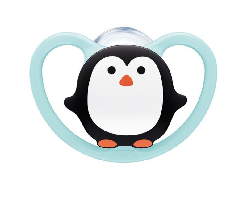 Dřevěné hračky NUK NUK Dudlík Space holka 6-18 měs. tučňák modrá