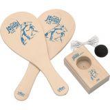 Dřevěné hračky Vilac Jokari hra s míčem a gumičkou v baťůžku