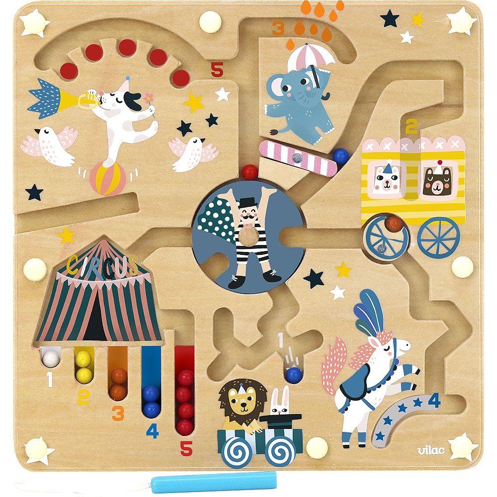 Dřevěné hračky Vilac Magnetický labyrint cirkus Michelle Carlslund