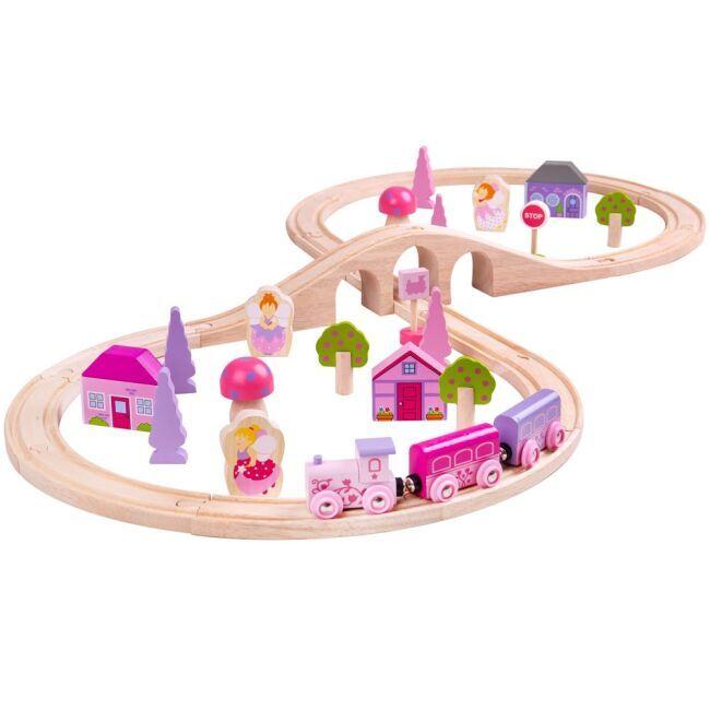 Dřevěné hračky Bigjigs Rail Dřevěná vláčkodráha osmička pro princezny 40 dílů poškozený obal