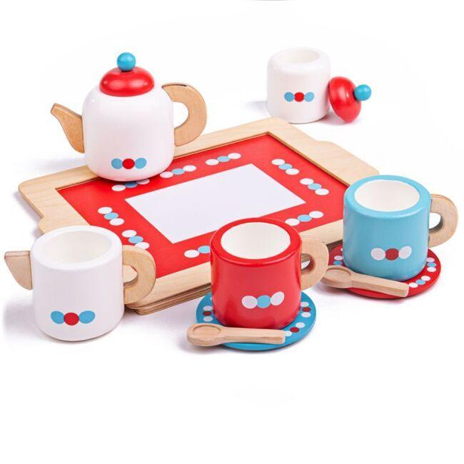 Dřevěné hračky Bigjigs Toys Čajový servis s puntíky poškozený obal
