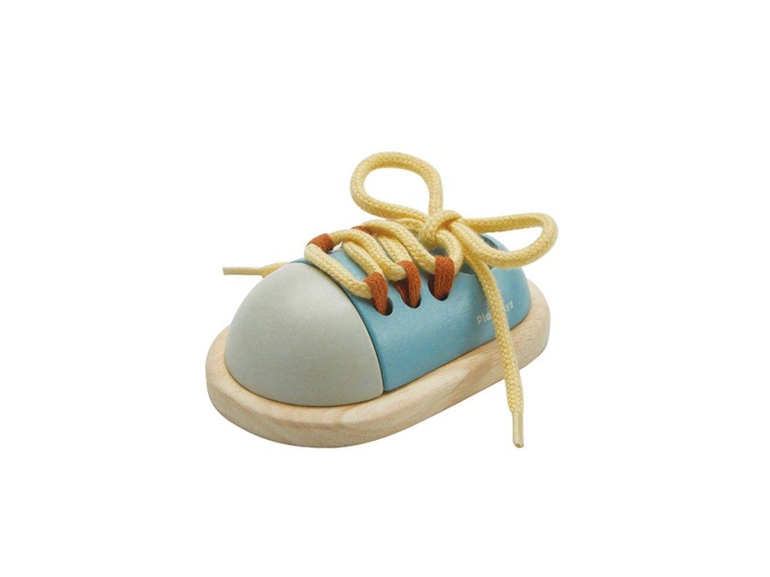 Dřevěné hračky PlanToys Šněrovací botička modrá