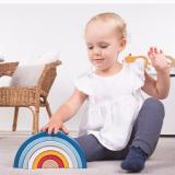 Dřevěné hračky Bigjigs Baby Dřevěná skládací duha modrá Bigjigs Toys
